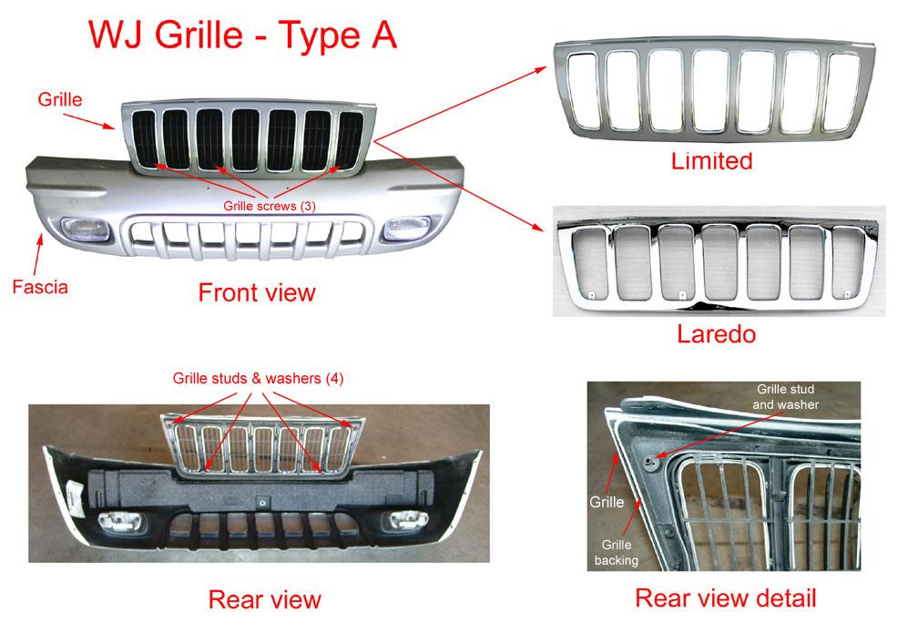 2000 grand cherokee grille diagram jeep - jeepnieci.pl #2