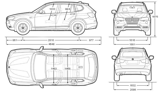 ford samochod  bmw x3 wymiary